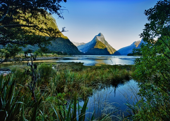 Mitre Peak on Milford Sound at sunrise, Fiordland National Park