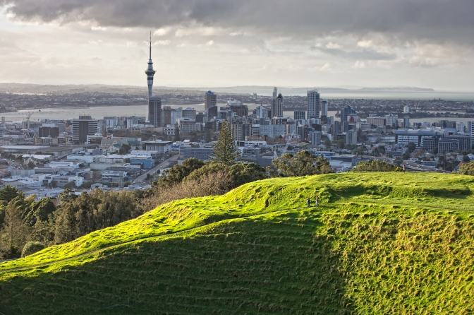 Burst of sunshine on Mt Eden volcano