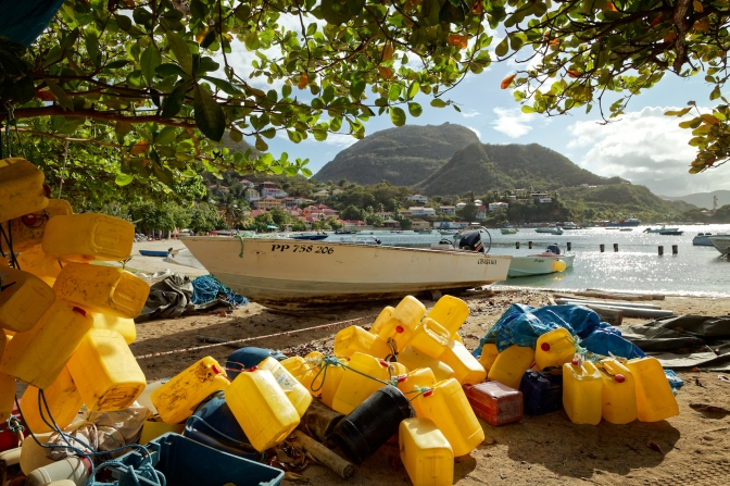 SFishing boats and floats, Terre-de-Haut, Illes Des Saintes, Guadeloupe