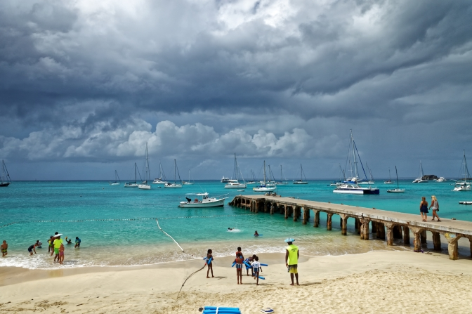 Swimming lessons, Grand Case beach, Saint Martin