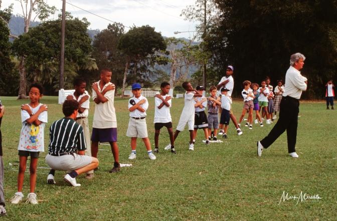 Golf clinic with Stephen Ames (squatting) at Chaguaramas Golf Club
