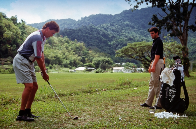 Stephen Ames practises at Moka watched by brother Robert