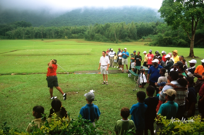 Stephen Ames conducts a golf clinic at Chaguaramas Golf Club