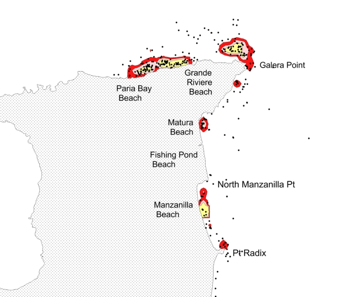 Leatherback turtle hotspots