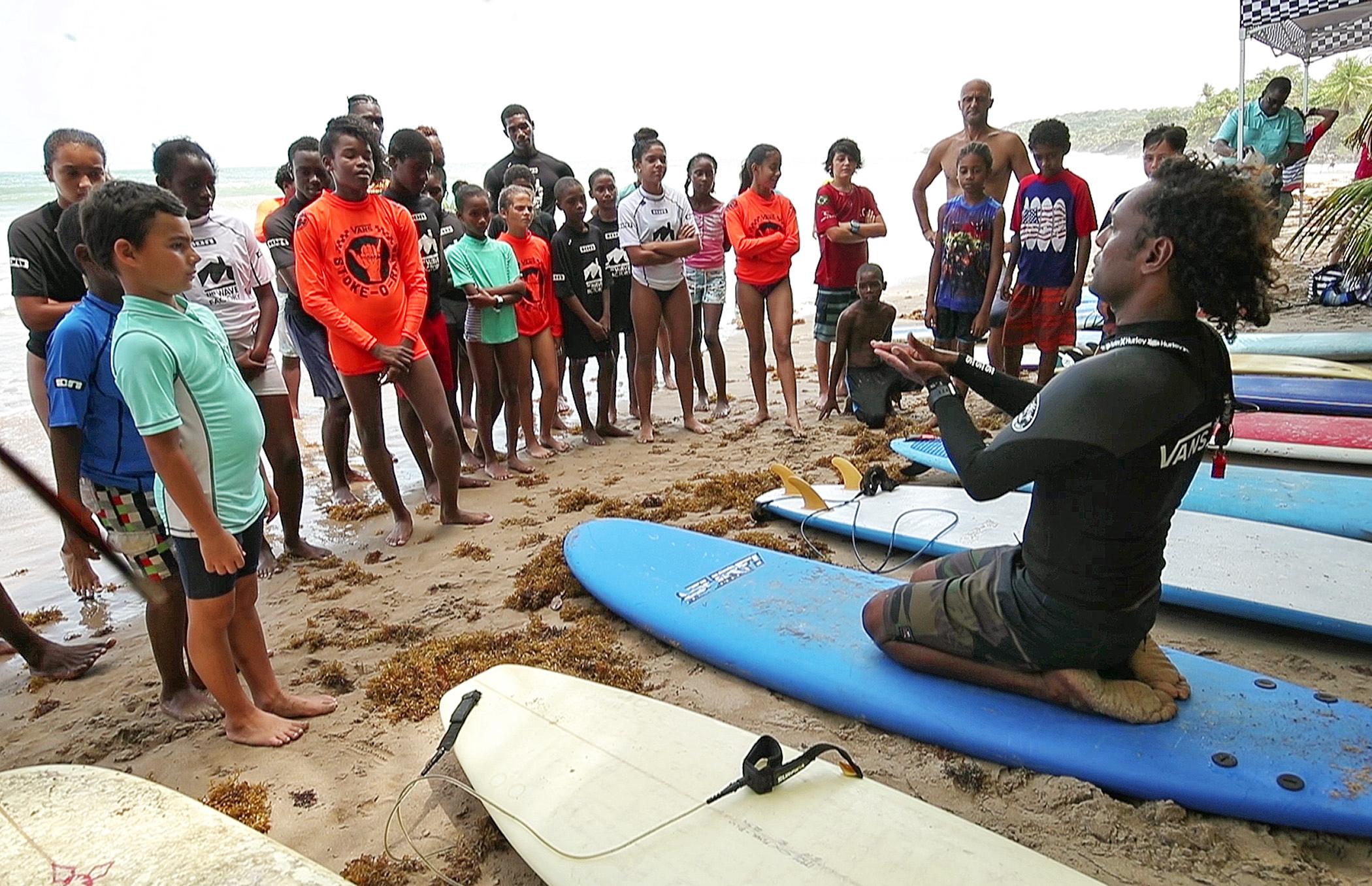 Chris Dennis and surf class